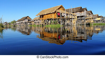 Landscape in Myanmar - Landscape of wooden houses built in...