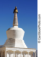 White stupa in a Tibetan lamasery - Landmark of white stupa...