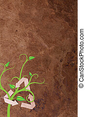recycle symbol with plant on paper background