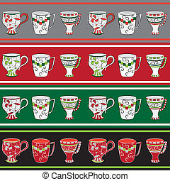 Set of line patterns with cups