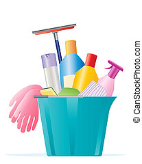 spring cleaning - an illustration of a plastic blue bucket...