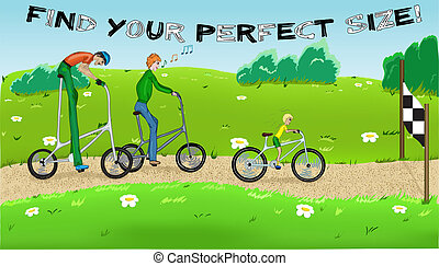 Funny cycling with three cyclists2. Vector illustration EPS8