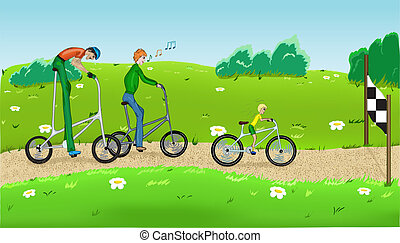 Funny cycling. - Funny cycling with three cyclists. Vector...