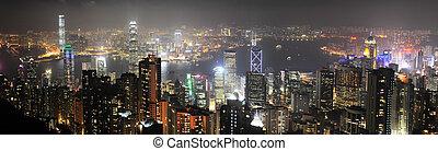 Hong Kong panorama - Night panorama of Hong Kong from...