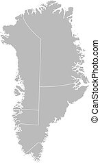 Map of Greenland - Political map of Greenland with the...