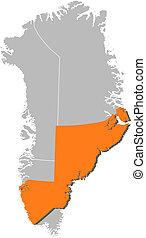 Landkarte, Grönland, Sermersooq, hervorgehoben