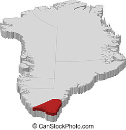 Map of Greenland, Kujalleq highlighted - Political map of...