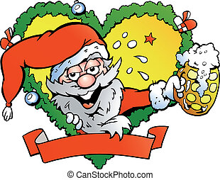 Drunk santa - Hand-drawn Vector illustration of an drunk...