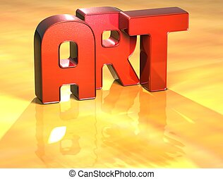Word Art on yellow background high resolution 3D image