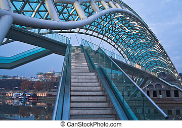 Peace Bridge - a pedestrian bridge on the Kura River in...