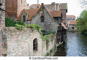 Bruges (Belgium) - Canal in Bruges, one of the oldest cities...
