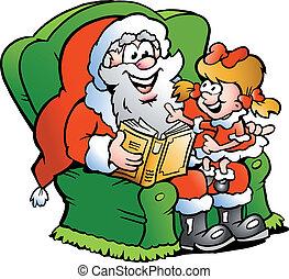 Santa Claus tells a story - Hand-drawn Vector illustration...