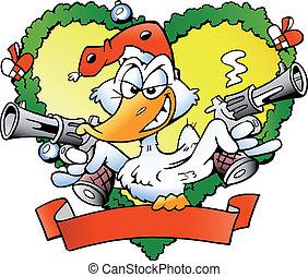 enojado, navidad, pato
