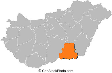 Map of Hungary, Csongrad highlighted - Political map of...