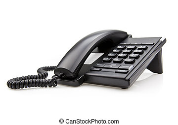 Black Office Phone isolated on white background