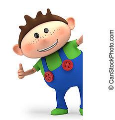thumbs up boy - cute little cartoon boy giving thumbs up...