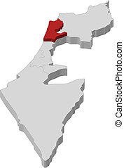 Map of Israel, Haifa highlighted - Political map of Israel...