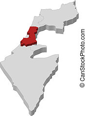 Map of Israel, Central District highlighted