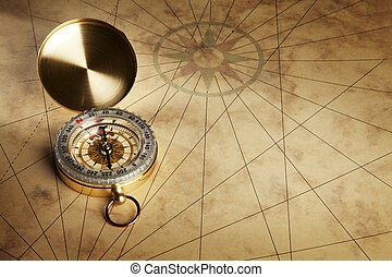 Compass on the old paper background