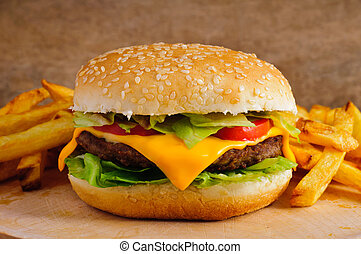 Cheeseburger and french fries - Cheeseburger with french...