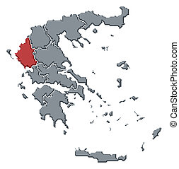 Map of Greece, Epirus highlighted - Political map of Greece...