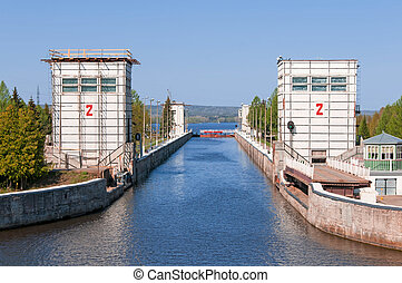 Sluice of the channel Volga-Don Lenins name Russia