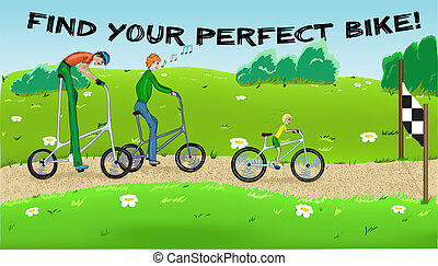 Find your perfect bike! - Funny cycling with three...