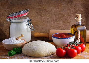 Pizza ingredients - Traditional pizza dough and ingredients