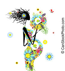 Pregnant woman with floral bouquet for your design