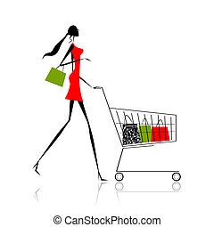Fashion girl silhouette with shopping bags