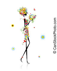 Floral woman with summer bouquet for your design