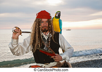 Pirate with a parrot - The pirate with a parrot on the...