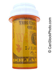 pill bottle with money inside