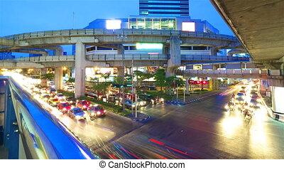 Bangkok at night. Timelapse in motion