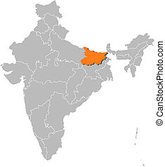 Map of India, Bihar highlighted