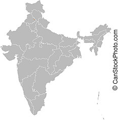 Map of India, Chandigarh highlighted