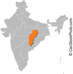 Map of India, Chhattisgarh highlighted