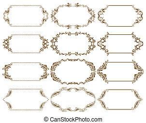 Set of ornate vector frames - Set of ornate floral vector...