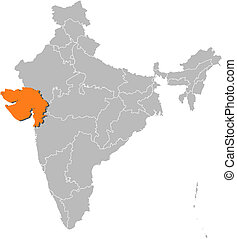 Map of India, Gujarat highlighted - Political map of India...