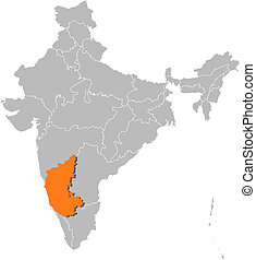 Map of India, Karnataka highlighted - Political map of India...