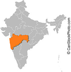 Map of India, Maharashtra highlighted - Political map of...