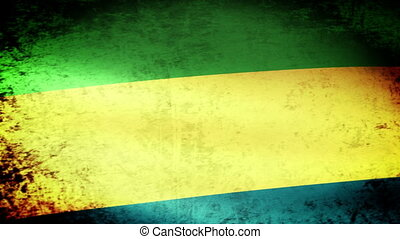Gabon Flag Waving, grunge look