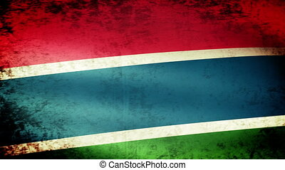 Gambia Flag Waving, grunge look