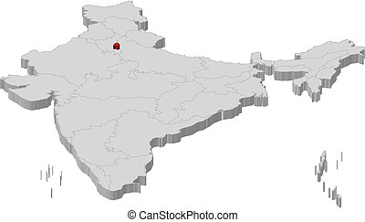 Map of India, National Capital Region highlighted -...