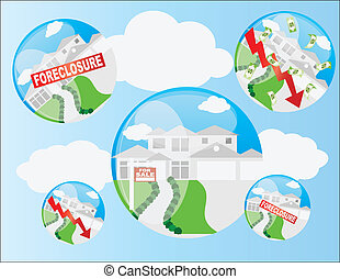 Home Housing Bubble Illustration - Real Estate Housing...