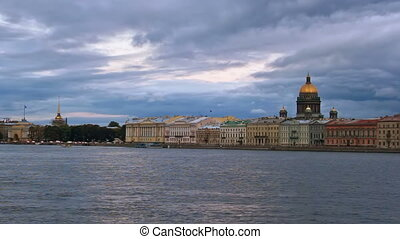 English Embankment at evening St Petersburg, Russia