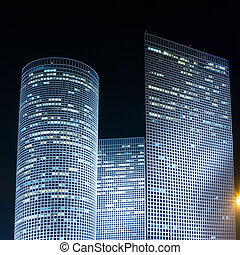 Azrieli center - Tel Aviv at night. Azrieli center.
