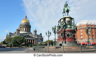 The monument to Nicholas I and St. Isaac's Cathedral, on St....