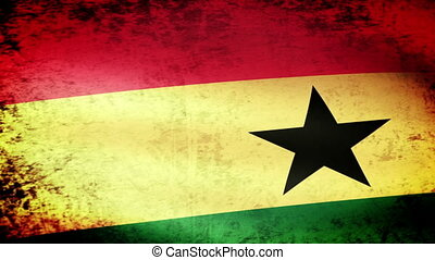Ghana Flag Waving, grunge look
