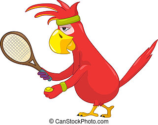 Funny Parrot. Tennis. - Cartoon Character Funny Parrot...